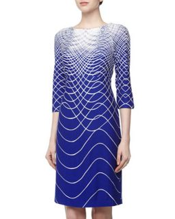 Sound Wave Print Stretch Jersey Dress, Royal/Ivory