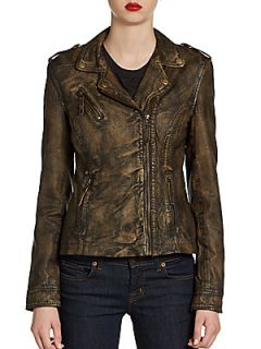 Distressed Leather Moto Jacket   Bronze
