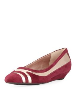 Niteday Pointy Ballerina Flat, Burgundy/Rose Gold