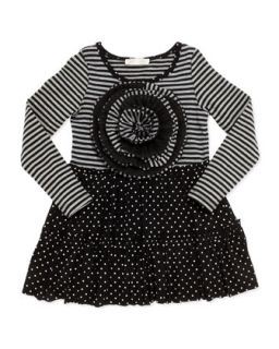Stripe & Polka Dot Dress, 2T 4T