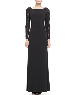 Long Sleeve Lace Boat Neck Gown   Laundry by Shelli Segal