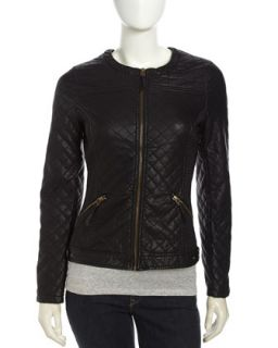 Quilted Faux Leather Zip Jacket, Black