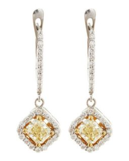 Yellow Diamond Cushion Drop Earrings
