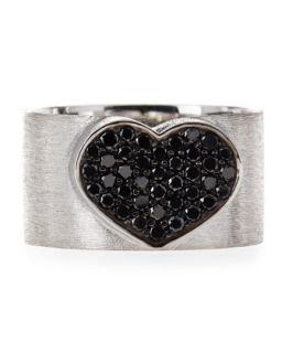 18 Karat White Gold Black Diamond Heart Ring, Size 8