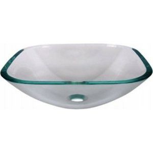 Aquabrass AB CC153 Crystal Clear Glass Square Crystal Clear Tempered Glass Basin