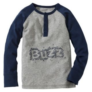 Burts Bees Baby Toddler Boys Buzz Henley Tee   Grey/Navy 2T