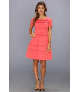 Eliza J Cap Sleeve Drop Waist Dress With Stitching Womens Dress (Coral)
