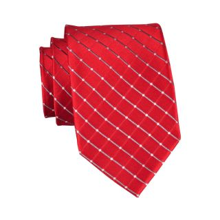 Stafford Dotted Grid Silk Tie, Red, Mens