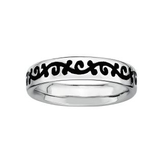 Sterling Silver Black Enamel Vine Ring, White, Womens