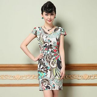 Womens Europe Slim Elastic Dress