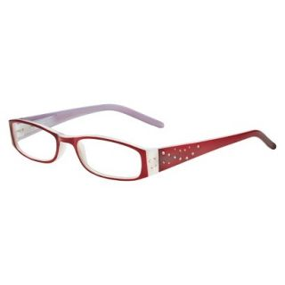 ICU Crystal Rectangle Rhinestone Reading Glasses With Sparkle Case   +2.0