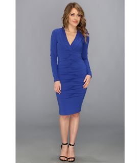 Nicole Miller Heather Jersey V Neck L/S Tucked Dress Womens Dress (Blue)