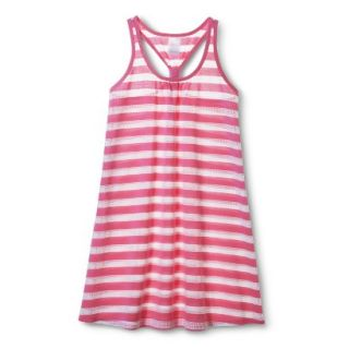 Girls Striped Cover Up Dress   White/Pink XL