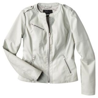 Mossimo Womens Faux Leather Jacket  Ivory XL