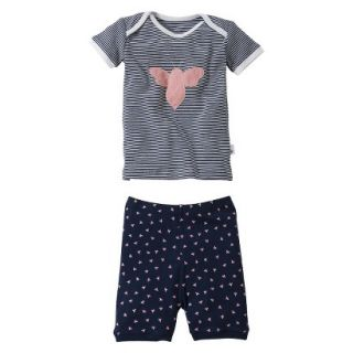 Burts Bees Baby Infant Toddler Girls 2 Piece Short Sleeve Bee Pajama Set