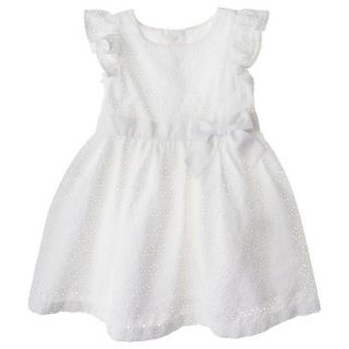 Cherokee Infant Toddler Girls Eyelet Flutter Sleeve Dress   White 3T