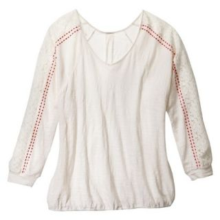 Womens Plus Size Long Sleeve Lace Top   Cream 3