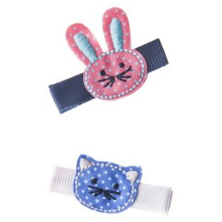Cherokee Infant Toddler Girls 2 Piece Hair Clips   Cat/Bunny
