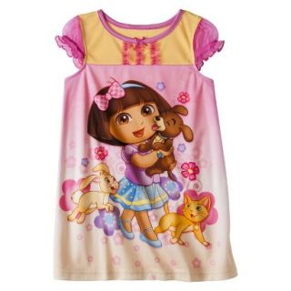 Dora the Explorer Toddler Girls Short Sleeve Nightgown   Pink 3T