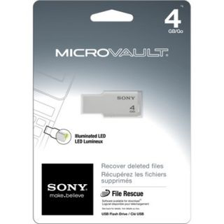 Sony Micro VL 4GB USB Flash Drive   White (USM4GM/W)