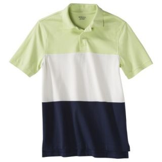 Mens Classic Fit Colorblock Polo Shirt Navy white yellow M