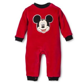 Disney Newborn Boys Velour Mickey Mouse Coverall   Red 3 6 M