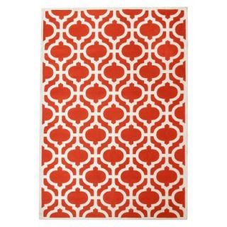 Threshold Indoor/Outdoor Fretwork Area Rug   Red (5x7)