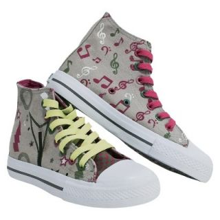 Girls Xolo Shoes Rocker Girl High Top Canvas Sneakers   Gray 5