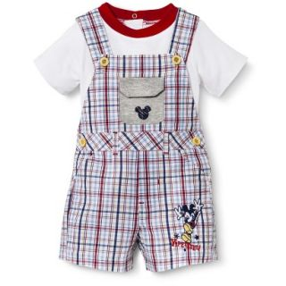 Disney Newborn Boys 2 Piece Plaid Mickey Mouse Set   White/Blue/Red 0 3 M
