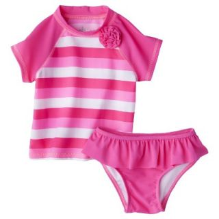 Circo Infant Toddler Girls 2 Piece Stripe Rashguard Set   Pink 9 M