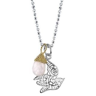 Silver Filigree Dove With Wrap Stone Necklace   Pink