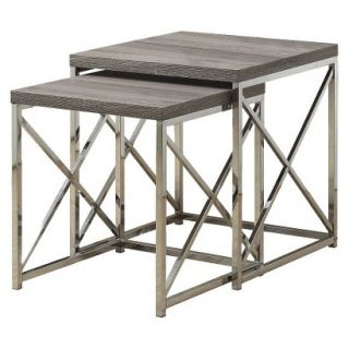 Accent Table Monarch Specialties Nesting Table 2 Piece Set   Dark Taupe