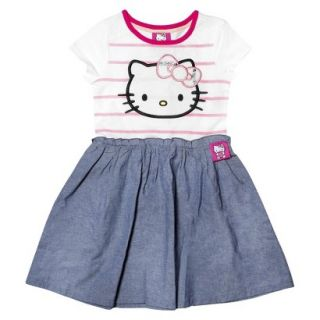 Hello Kitty Infant Toddler Girls Short Sleeve Tunic Dress   White/Chambray 2T
