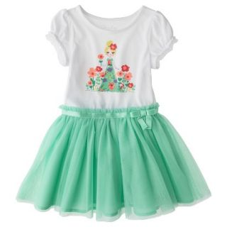 Cherokee Infant Toddler Girls Short Sleeve Empire Dress w/ Tulle Skirt