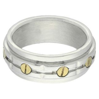 Stainless Steel Two Tone Mens Bolt Ring   Silver/Gold (Size 9)