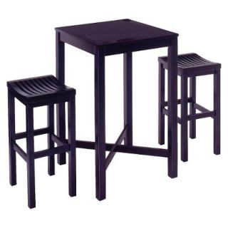 Bar Height Table Set Home Styles Bar Table with 2 Stools   Black