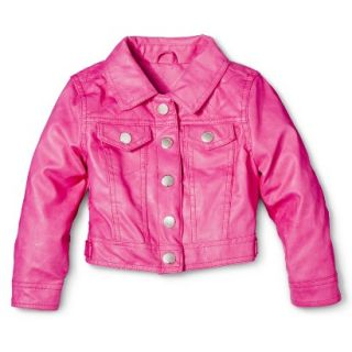Dollhouse Infant Toddler Girls Faux Leather Jacket   Pink 4T