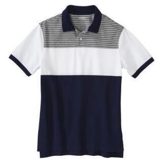Mens Classic Fit Colorblock Polo Shirt Navy White grey stripe Voyage XXL