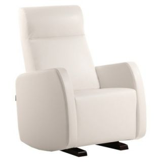 Glider Dutailier Multi Position Bonded Leather Upholstered Glider   White