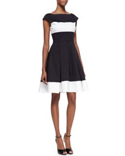 Womens adette cap sleeves pleated dress, black/cream   kate spade new york