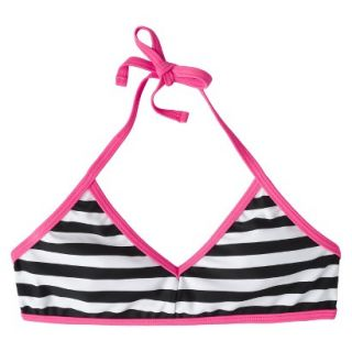 Girls Striped Halter Bikini Swimsuit Top   Black/White M