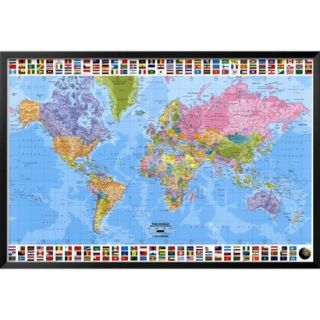 Art   World Map   Political Framed Poster