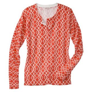 Merona Womens Ultimate Long Sleeve Crew Neck Cardigan   Orange/Cream Print   S