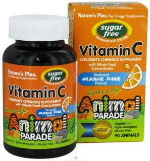 Natures Plus   Source Of Life Animal Parade Childrens Vitamin C Chewable Sugar Free Natural Orange Juice Flavor   90 Chewable Tablets