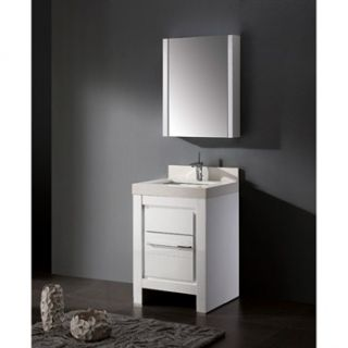Madeli Vicenza 24 Bathroom Vanity with Quartzstone Top   Glossy White
