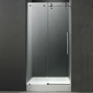 VIGO 48 inch Frameless Shower Door 3/8 Frosted/Stainless Steel Hardware Right w