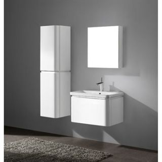 Madeli Euro 30 Bathroom Vanity with Integrated Basin   Glossy White