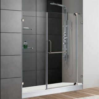 VIGO 60 inch Frameless Shower Door 3/8 Clear Glass Brushed Nickel Hardware with