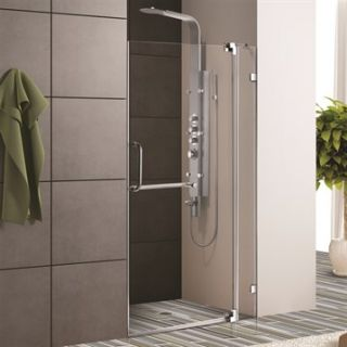 VIGO 42 inch Frameless Shower Door 3/8 Clear Glass
