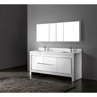 Madeli Vicenza 72 Double Bathroom Vanity with Quartzstone Top   Glossy White